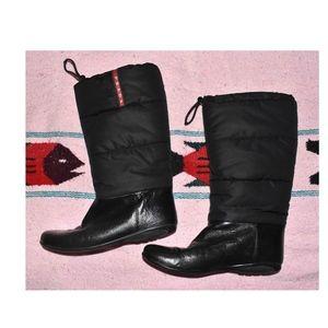 PRADA Black Nylon Puffer Boot Leather Bottom 37.5